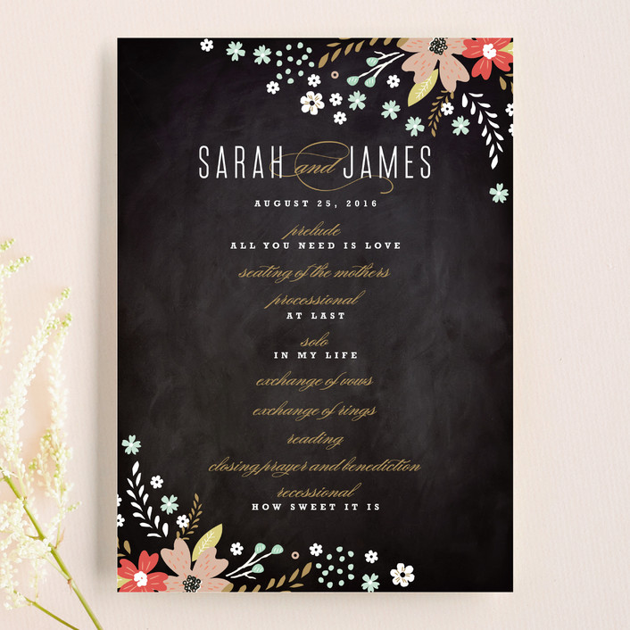 """""""Chalkboard Floral"""" - Floral & Botanical, Rustic Unique Wedding Programs in Peony by Kristie Kern."""