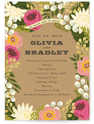 Floral Canopy Wedding Programs