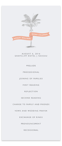Palm Wedding Programs