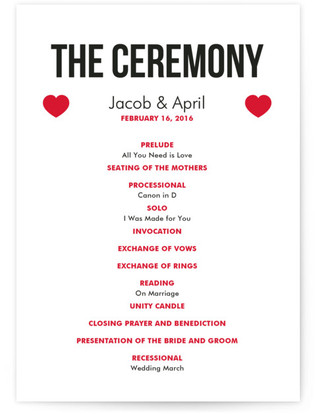 Vegas Type Wedding Programs