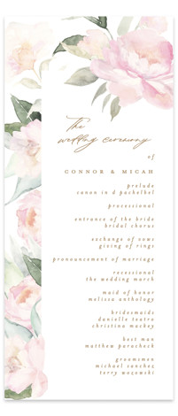 beautiful peonies Wedding Programs