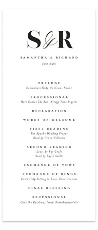 whimsical ampersand Wedding Programs