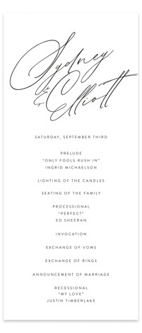 By Your Side Wedding Programs