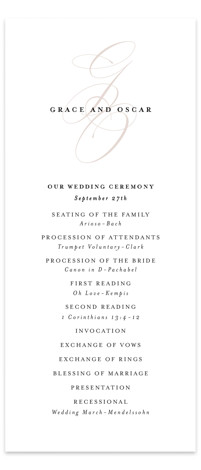 front and center Wedding Programs