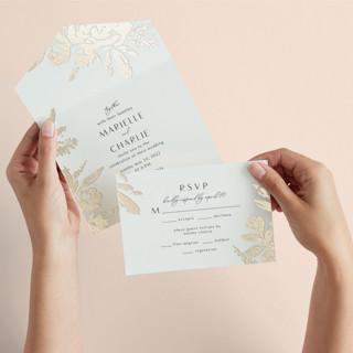 Wedding veil All-in-One Foil-Pressed Wedding Invitations