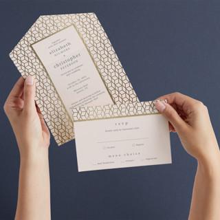 Geometric Pattern All-in-One Foil-Pressed Wedding Invitations