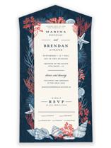 Deep Blue All-in-One Wedding Invitations