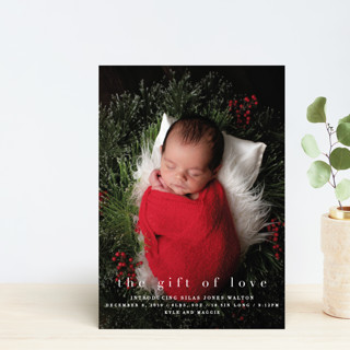 the gift of love Holiday Birth Announcement Postcards