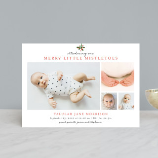 Merry Little Mistletoes Holiday Birth Announcement Postcards