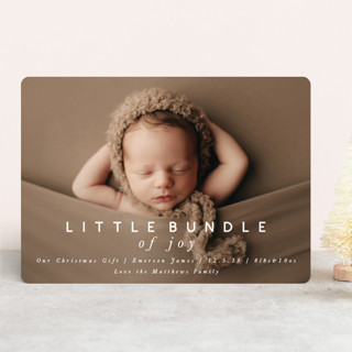 little bundle of joy Holiday Birth Announcements