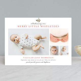 Merry Little Mistletoes Holiday Birth Announcements