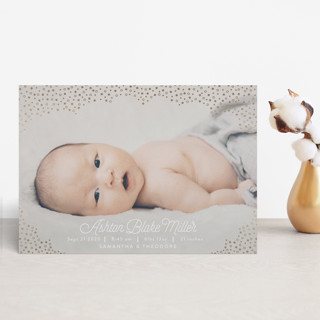 Pebble Cloud Foil-Pressed Birth Announcement Petite Cards