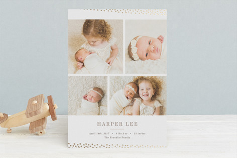 Gilded Dots Foil-Pressed Birth Announcements