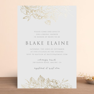 Gilded Wildflowers Foil-Pressed Bridal Shower Invitations