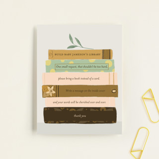Book Lovers Baby Shower Insert Cards