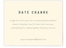 Modern Date Change Baby Shower Insert Cards