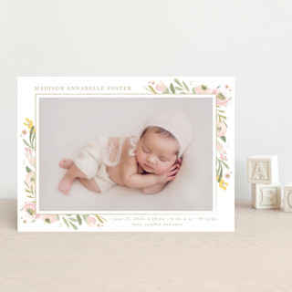 brush of florals Birth Announcement Petite Cards