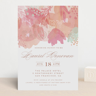 Gentle Petals Foil-Pressed Baby Shower Invitations