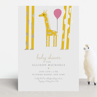 Mama and Baby Giraffe Foil-Pressed Baby Shower Invitations