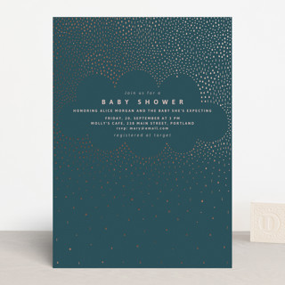 Rainy Day Foil-Pressed Baby Shower Invitations