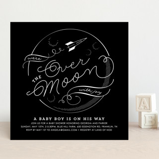 Over The Moon In Love Baby Shower Invitations