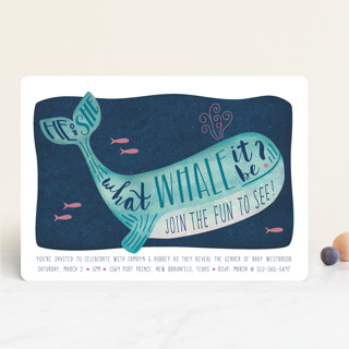 Gender Reveal Whale Baby Shower Invitations
