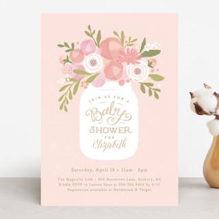 Mason jar florals Baby Shower Invitations