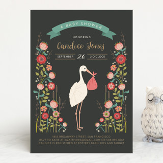 Delivery In The Garden Baby Shower Invitations