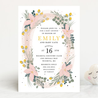 Floral Oval Baby Shower Invitations