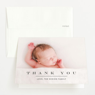 Classic & Serene Flat Birth Announcements Thank You Cards