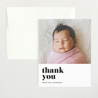 Modern Serif Flat Birth Announcements Thank You Cards