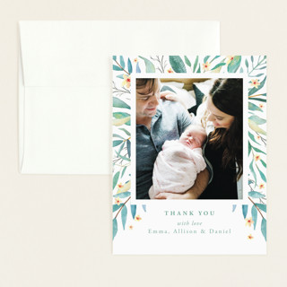 watercolor botany Flat Birth Announcements Thank You Cards