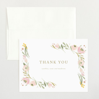 brush of florals Flat Birth Announcements Thank You Cards