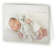 Delicate Welcome Foil-Pressed Birth Announcement Thank You Cards