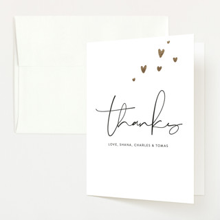 Tiny Hearts Foil-Pressed Birth Announcement Thank You Cards