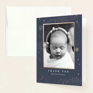 Out of This World Foil-Pressed Birth Announcement Thank You Cards