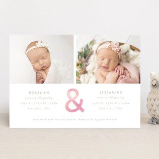 Watercolor Ampersand Birth Announcements