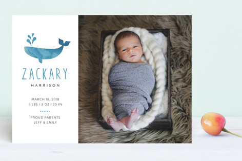 Whale Hello Birth Announcements