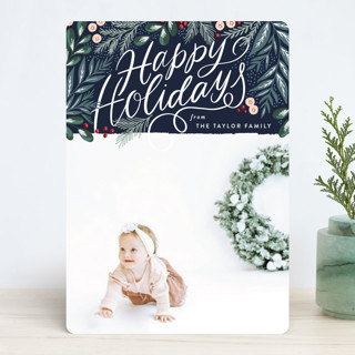 Scripted Pine Branch Berries Christmas Photo Cards