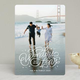 Wonders of His Love Script Christmas Photo Cards