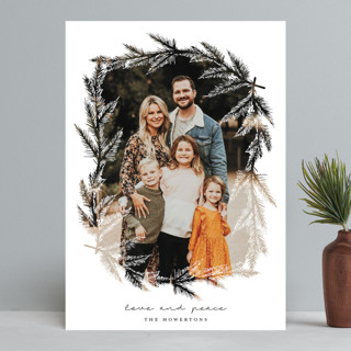 evergreen branches Christmas Photo Cards