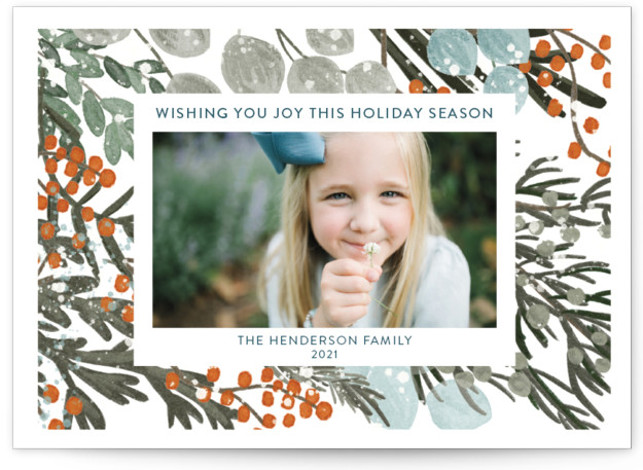 Vintage Winterberry Christmas Photo Cards