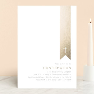 Gold on White Confirmation Invitations