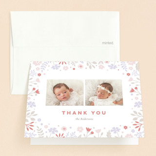 pastel florals Bris and Baby Naming Thank You Card