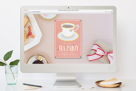 Illustrated Tea Party Brunch Online Invitations