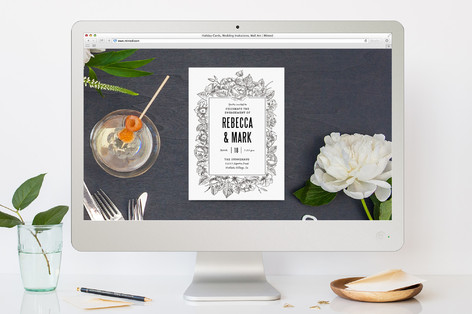 Sketched Foliage Engagement Party Online Invitations