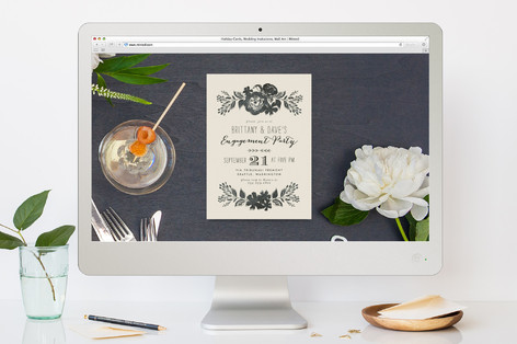 Dramatic Florals Engagement Party Online Invitations