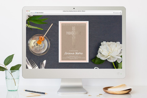 Intricate Cross First Holy Communion Online Invitations