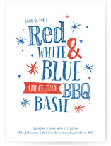 Red, White, & Blue BBQ 4th of July Online Invitations