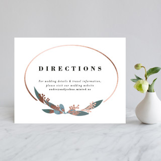 Wedding Wreath Foil-Pressed Direction Cards
